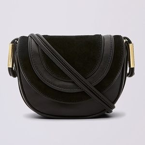 DVF Mini Leather And Suede Saddle Bag Black